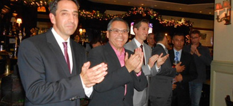 District Attorney Jeff Rosen, left, and San Jose Councilman Xavier Campos posed for pictures at an event last month to raise money for the gun buyback. (Photo via Amy Nilson, via Examiner.com)