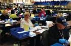 Inside Santa Clara County's Registrar of Voters on election night. (Photo by Josh Koehn)