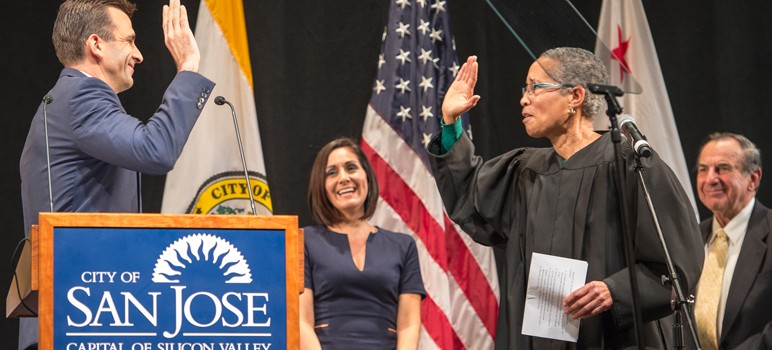 Judge LaDoris Cordell, right, acted as a late substitute to read Mayor Sam Liccardo his oath of office. (Photo by Brian Kirksey)