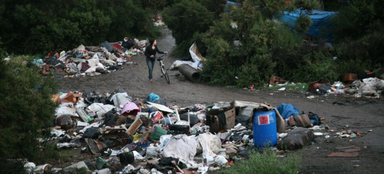 A view of 'The Jungle,' San Jose's largest homeless encampment until officials cleared it out in December. (Photo by Rodriguez Studios)