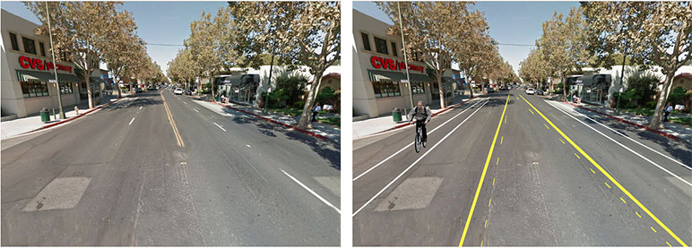 Lincoln Avenue in its current shape (pictured left) and what it would look like after the proposed 'road diet.'