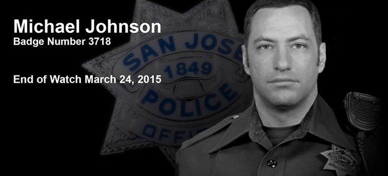 A memorial banner for Officer Michael Johnson. (Image via San Jose Police Department)