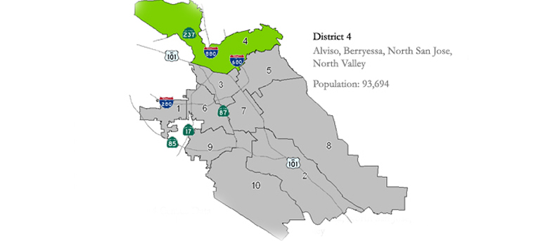A map of the north San Jose council district.