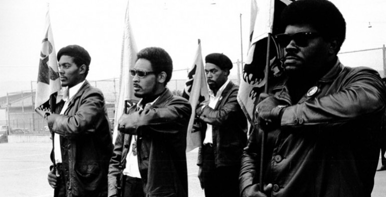 The Black Panthers in Oakland scared the California legislature into passing laws restricting the open carry of loaded weapons. (Photo via ArtPractical.com)