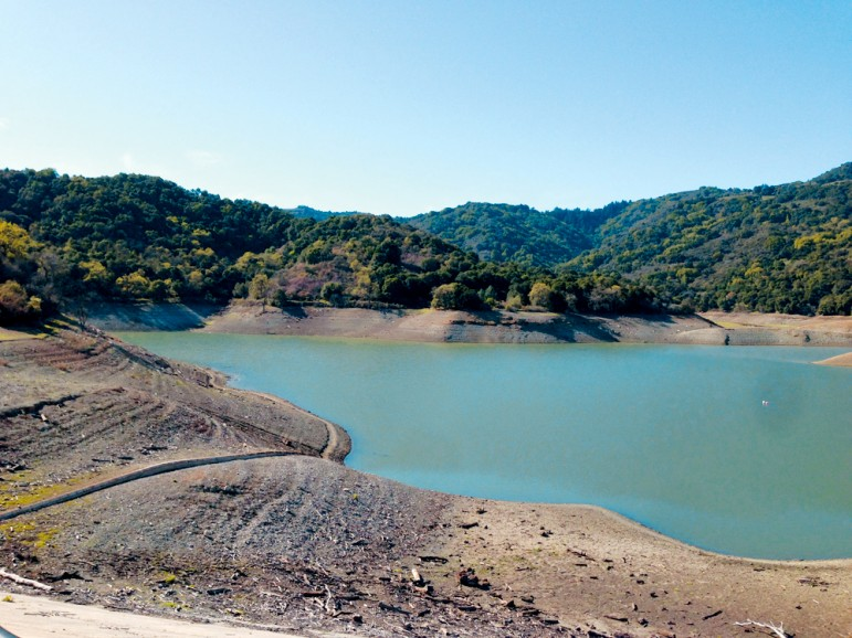 Stevens Creek Reservoir has nearly dried up due to the drought.