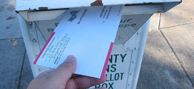 Vote-by-mail ballots in Oregon do not require paid postage. (Photo by Chris Phan, via Wikimedia Commons)
