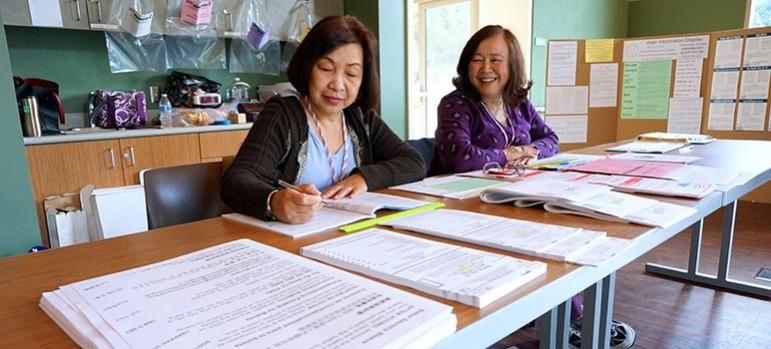 Volunteers at a District 4 polling station.