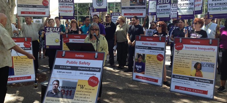 Santa Clara County reached a deal with its largest labor in time to avert a 8,500-worker strike Tuesday. (Photo via SEIU 521)