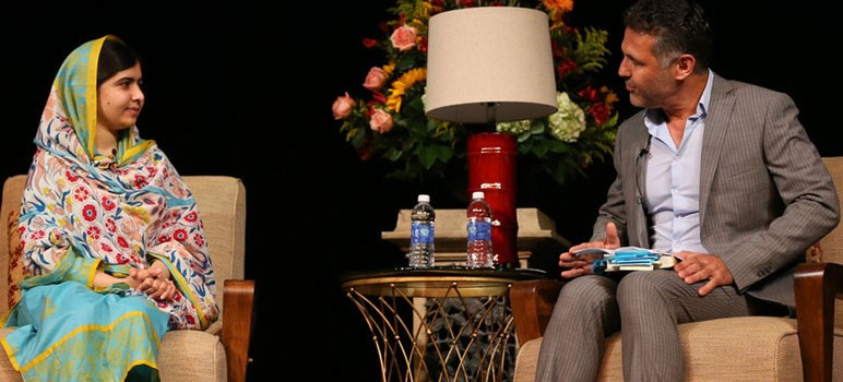Malala Yousafzai speaks with author Khaled Hosseini at an event held at San Jose State last week. (Photo by Christina Olivas, via SJSU)