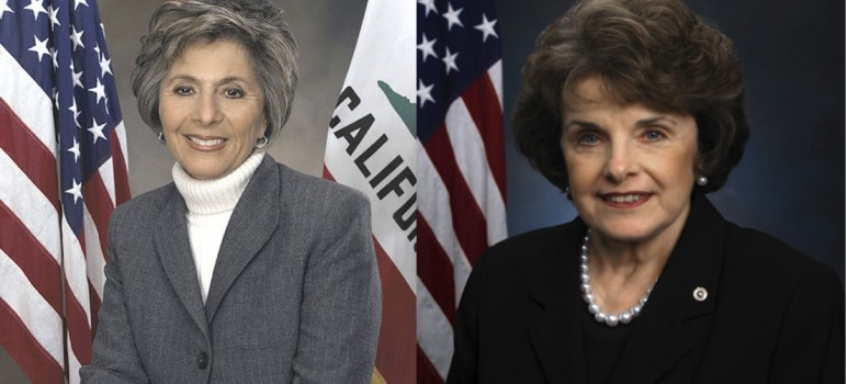 Senators Barbara Boxer, left, and Dianne Feinstein have taken a hard line on undocumented immigrants and ICE detainers since the killing of a San Francisco woman.