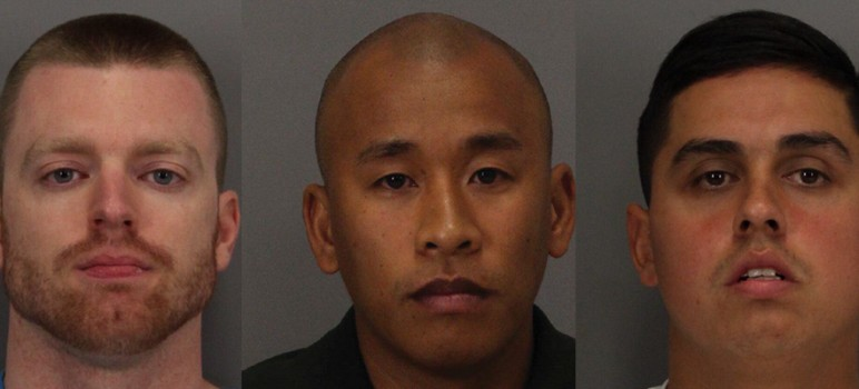 Correctional officers Matthew Farris, Jereh Lubrin and Rafael Rodriquez (from left) have been charged with murder in connection to the beating death of a Santa Clara County inmate.