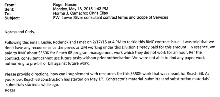This email shows a water district employee raising concerns that RMC was paid $350,000 for zero work.