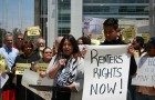 Tenant advocates at a rally outside San Jose's City Hall. (Image via Silicon Valley Renters Rights Coalition)