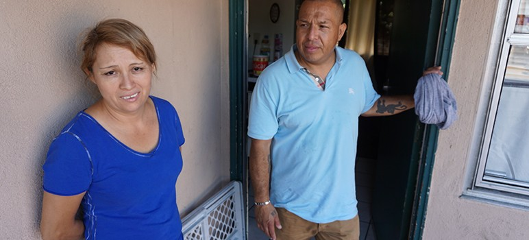 Alejandra Hernandez and husband Benjamin Garfias are suing their landlord over slum-like conditions at their 12-unit San Jose apartment. (Photo by Jennifer Wadsworth)