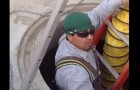 Joel Ferreira, moments before a steam explosion blasted him out of a manhole last year. (Image via YouTube)