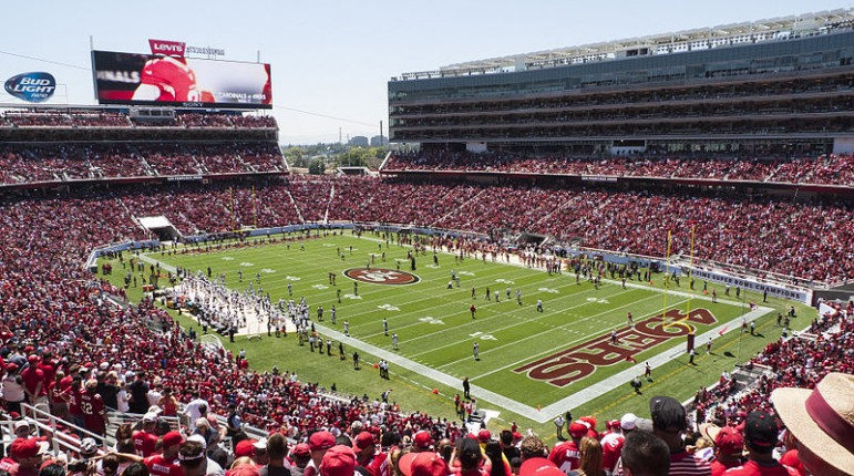 Levi's Stadium next month will host Super Bowl 50, which law enforcement says draws the worst forms of depravity—and we're not talking about football. (Photo by Jim Bahn, via Wikimedia Commons)