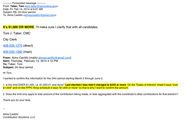 Toni Taber sent this email to campaign accountant Alma Castillo, showing the clerk provided incorrect information.