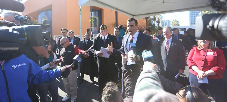 Mayor Sam Liccardo and Santa Clara County Supervisor Dave Cortese announced an initiative to house hundreds of homeless veterans. (Image via All the Way Home)