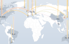 A map of DDoS cyberattacks from around the world. (Screen capture via Digital Attack Map)