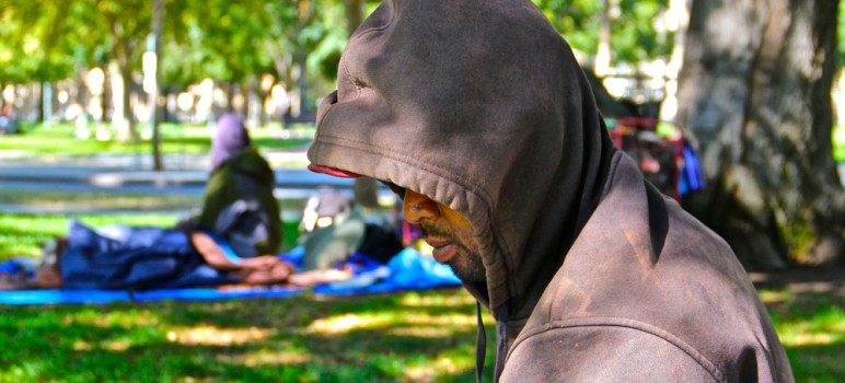 Santa Clara County, home to the nation's largest unsheltered homeless population, is preparing a cold weather shelter plan. (File photo Chip Scheuer)