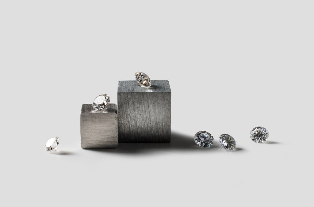 Diamonds created by Diamond Foundry, which cultures the stones in its San Mateo County lab.