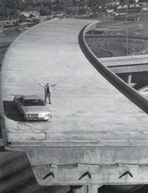 Joe Colla atop the unfinished 680-280-101 interchange.