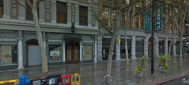 The historic building at 58 S. First St., in downtown San Jose, has sat empty since Bella Mia went out of business two years ago. (Image via Google Street View)
