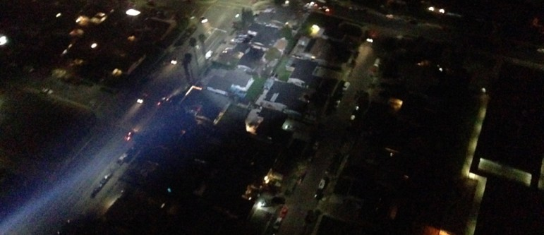 A high-speed chase led to the Airbus EC120B circling the scene to locate the last suspect. (Photo by Josh Koehn)