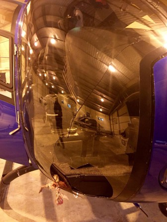 A bird smashed through the windhsield of the Airbus EC120B, leaving a hole and long crack. (Photo courtesy of SJPD)