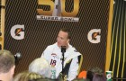 Peyton Manning answered the usual oddball questions at Media Night at SAP Center. (Photo by David Barclay)