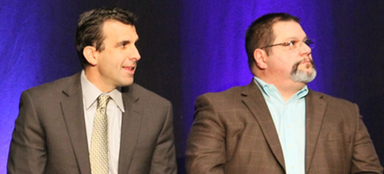 Pete Constant, right, is making things difficult for his former colleague Sam Liccardo. (File photo)