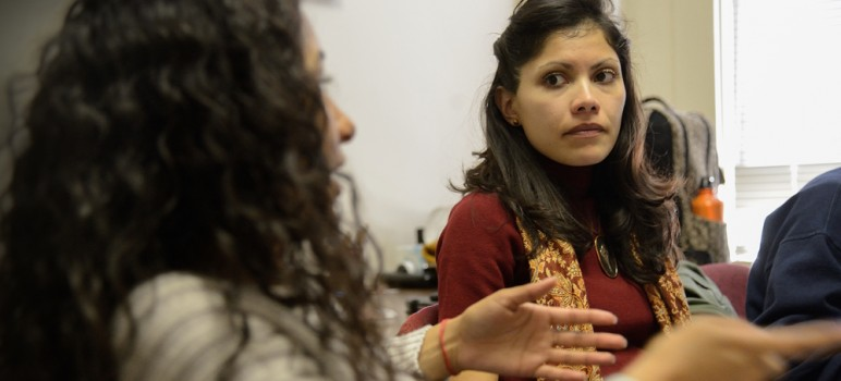 Dr. Jesica Fernandez leads an ethnic studies course at Santa Clara University. (Photo Greg Ramar)
