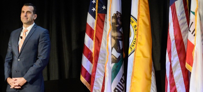 San Jose Mayor Sam Liccardo called 2016 a year of opportunity in his State of the City Speech on Saturday. (Photo by Greg Ramar)