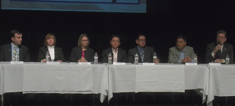 Seven of the eight candidates running for San Jose's District 6 City Council seat took part in a forum Monday at Bellarmine Prep. (Screenshot via YouTube)