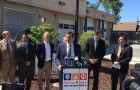 San Jose Mayor Sam Liccardo joined business and labor leaders for a Monday press conference to endorse a sales tax measure.