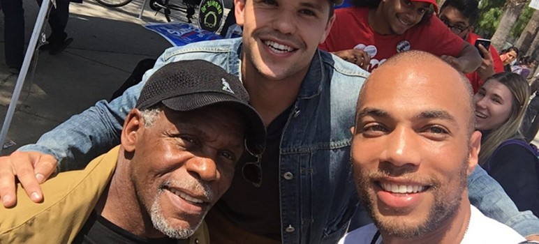 Actors Danny Glover (left), Max Carver and Kendrick Samson spoke at South Bay colleges this week in support of Bernie Sanders' presidential campaign. (Image via Twitter)