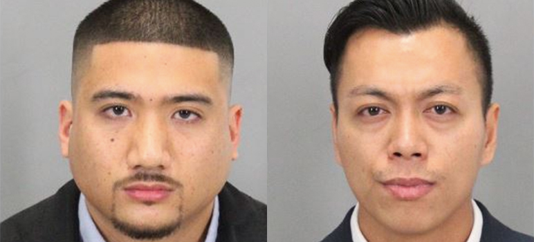 Phillip Abecendario and Tuan Le (left to right) have been accused of beating a shackled inmate last summer.