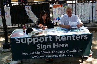 Tenant advocates drummed up support for renter protections at one of the rallies.