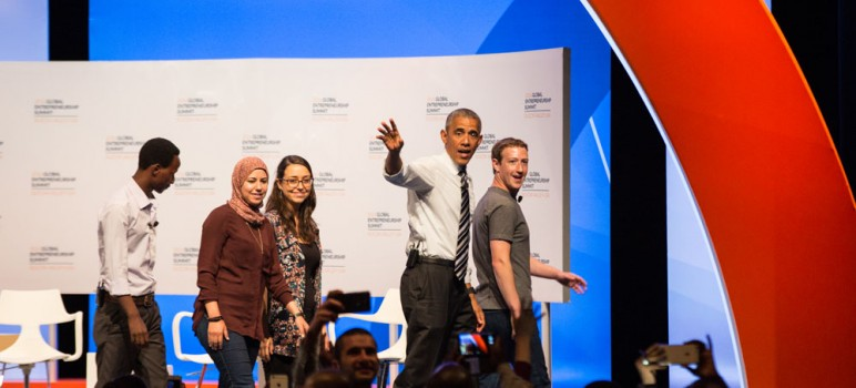 President Obama on Friday joined Facebook CEO Mark Zuckerberg and other industry experts for a panel discussion. (Photo by Jamie Soja)