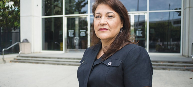 Maria Cruz says court officials have 'intimidated and retaliated' against interpreters who ask  for better working conditions. (Photo by Jessica Perez)
