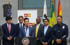 Assemblyman Evan Low advocates for stricter gun laws at an Equality California press conference. (Image via Twitter)