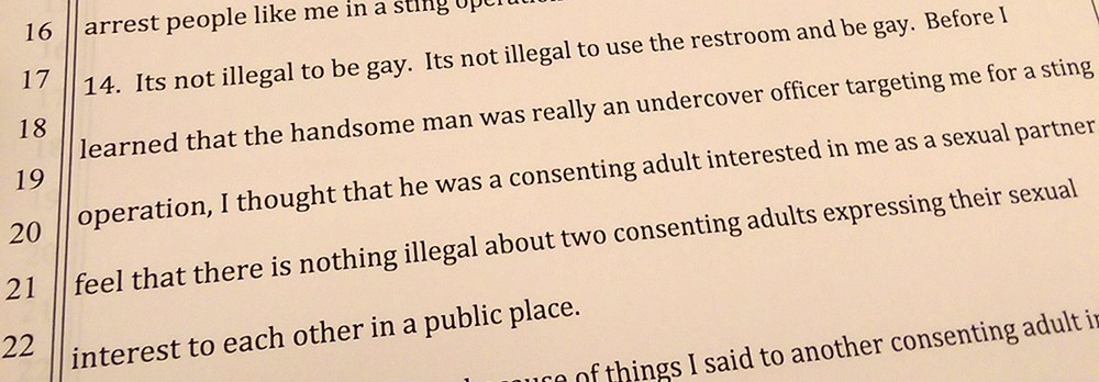 In an affidavit, Clay Morgan Parks recounts his arrest.