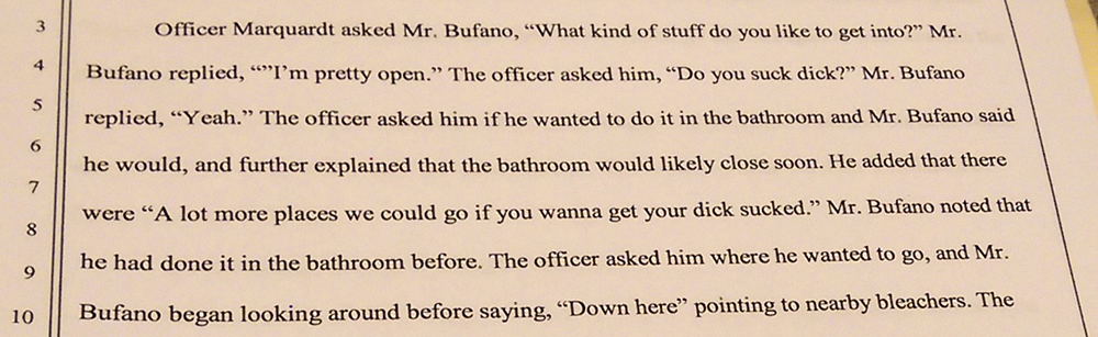 Officer Marquardt's account of Daniel Bufano's arrest.