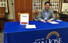 Councilman-elect Lan Diep at a job fair to find prospective hires for the District 4 office. (Photo via Facebook)