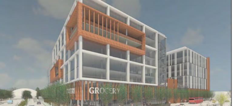 An artist's rendering of the proposed Santana West development. (Image via City of San Jose)