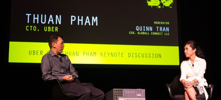 Uber CTO Thuan Pham (left) speaks with Quinn Tran during a keynote speaker session at C2SV. (Photo by Taylor Jones)