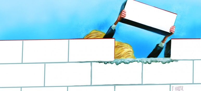 President-elect Donald Trump says he's going to build a wall between the nation and Mexico. We'll see. (Illustration by Fred Harper)