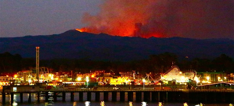 This season's Loma fire could be seen for miles on both sides of the Santa Cruz Mountains (Photo by Chip Scheuer)