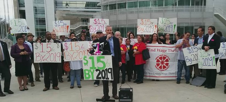 South Bay labor groups held a rally outside City Hall on Tuesday to urge local elected officials to pass the minimum wage increase to $15 by 2019. (Photo courtesy of Silicon Valley Rising, via Facebook)