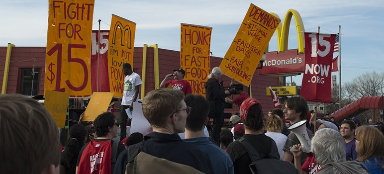 Fast food workers strike for a higher minimum wage. (Photo via Wikimedia Commons0